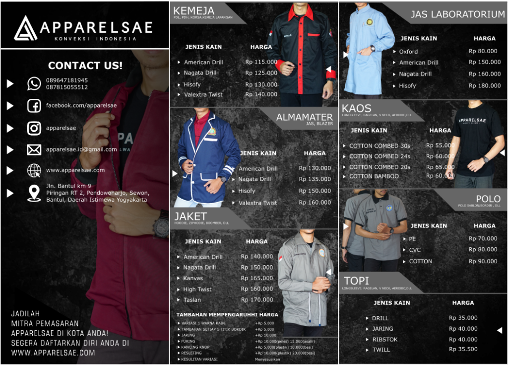 Pricelist Apparelsae